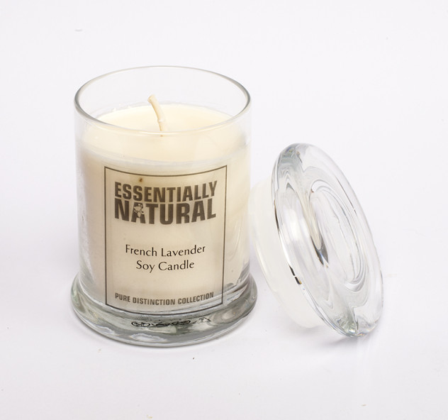 glass french lavender candle