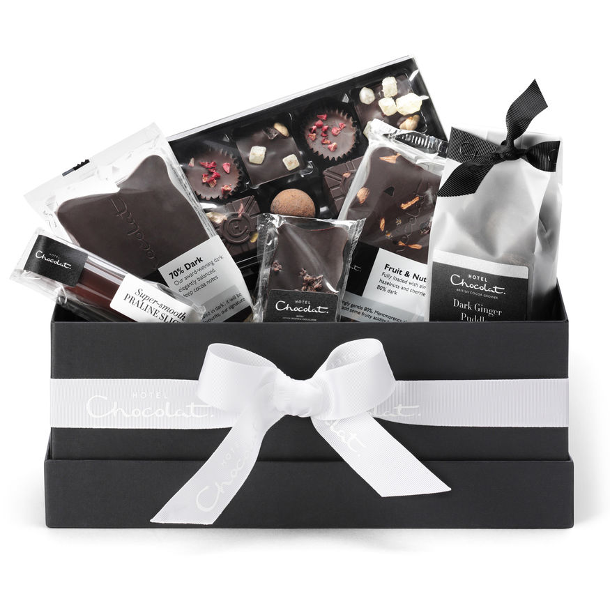 DARK CHOCOLATE UK CLICK & COLLECT AVAILABLEDELIVERY OPTIONS HOME SHOP PRODUCT LIST The All Dark Vegan Chocolate Hamper Collection